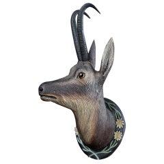 19th Century German Carved Wooden Deers Head