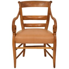 19th Century German Cherrywood Biedermeier Armchair with Brown Leather Seat