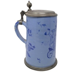19th Century German Earthenware Beer Stein with Tin Lid and Cobalt Blue