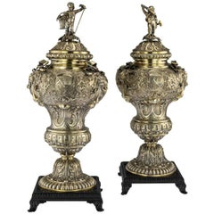19th Century German Exceptional Solid Silver-Gilt Vases, Hanau, circa 1880