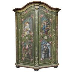 19th Century German Folk Art Painted Pine Cabinet