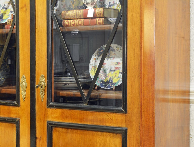 19th Century German Fruitwood and Ebonized Biedermeier Two-Door Book Case In Good Condition For Sale In Ft. Lauderdale, FL