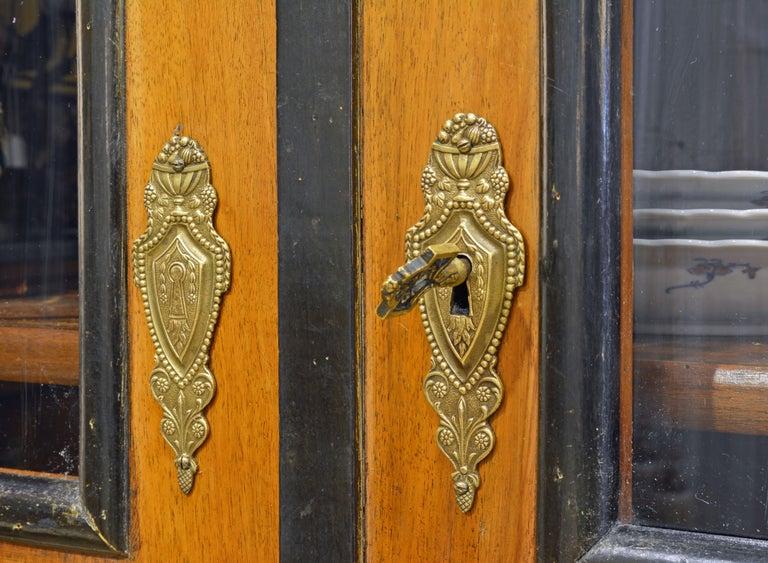19th Century German Fruitwood and Ebonized Biedermeier Two-Door Book Case For Sale 3
