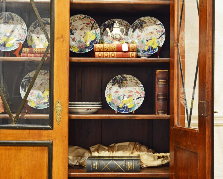 19th Century German Fruitwood and Ebonized Biedermeier Two-Door Book Case For Sale 4