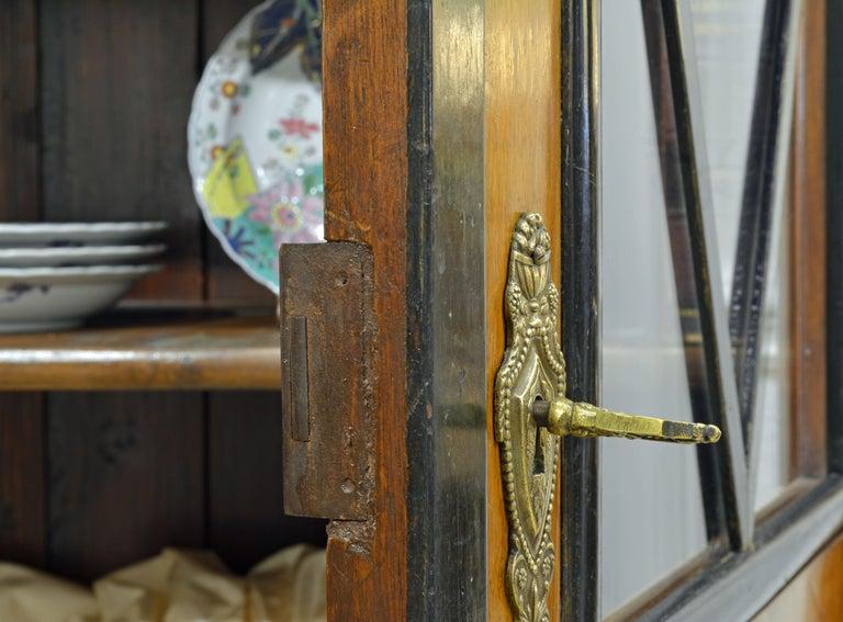19th Century German Fruitwood and Ebonized Biedermeier Two-Door Book Case For Sale 5