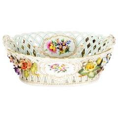 19th Century, German, Hand Painted Porcelain, Basket