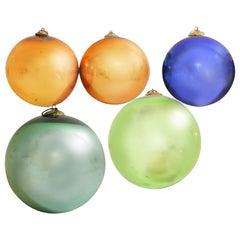19th Century German Kugel Ornaments, Blown Glass, Antique Holiday Orb Decor Set