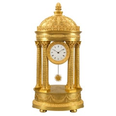 19th Century German Neoclassical Style Ormolu Portico Clock
