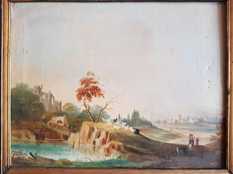 19th century German oil painting an panel by unknown artist, depicting a landscape with ruin, sheep shepherd and village in the background, has a slight loss of paint and crackle.  The measurements are incl. Frame, Depth 4.5 cm/ 1.7 inch. Width