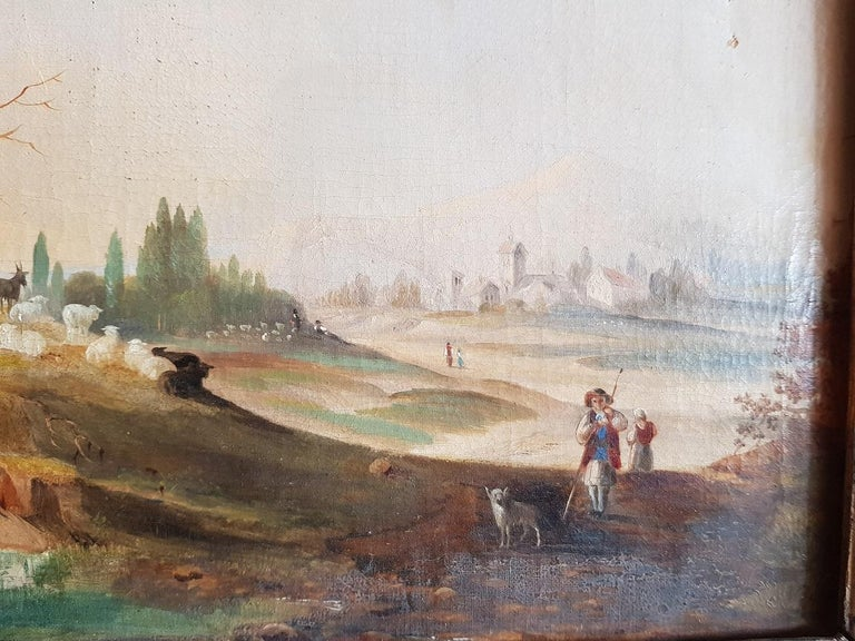 19th Century German Oil Painting by Unknown Artist Landscape with Sheep Shepherd In Good Condition In Raalte, NL