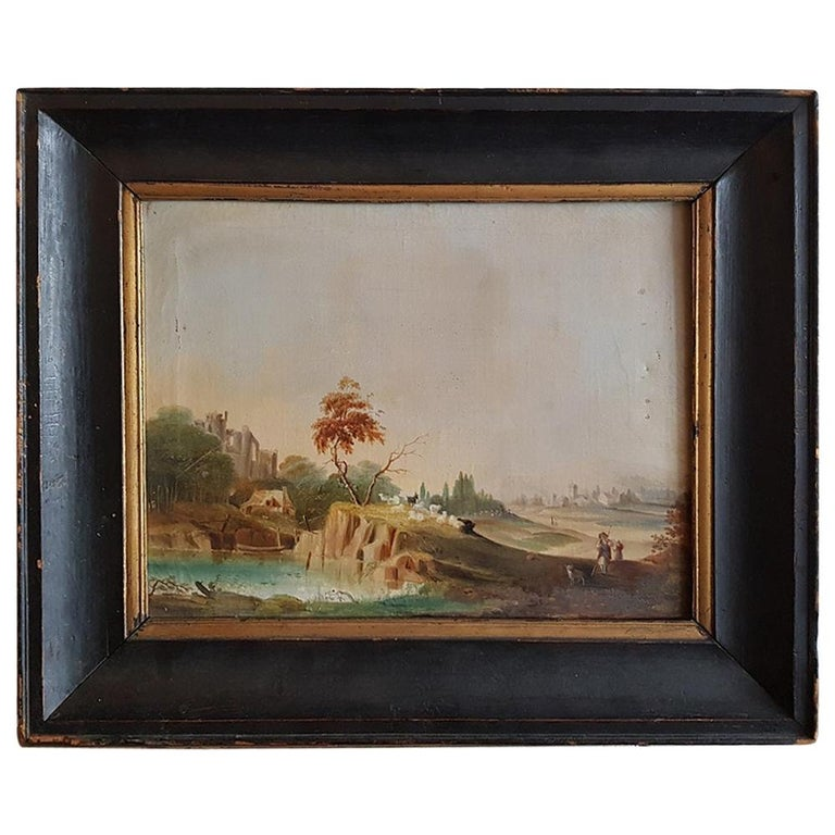 19th Century German Oil Painting by Unknown Artist Landscape with Sheep Shepherd