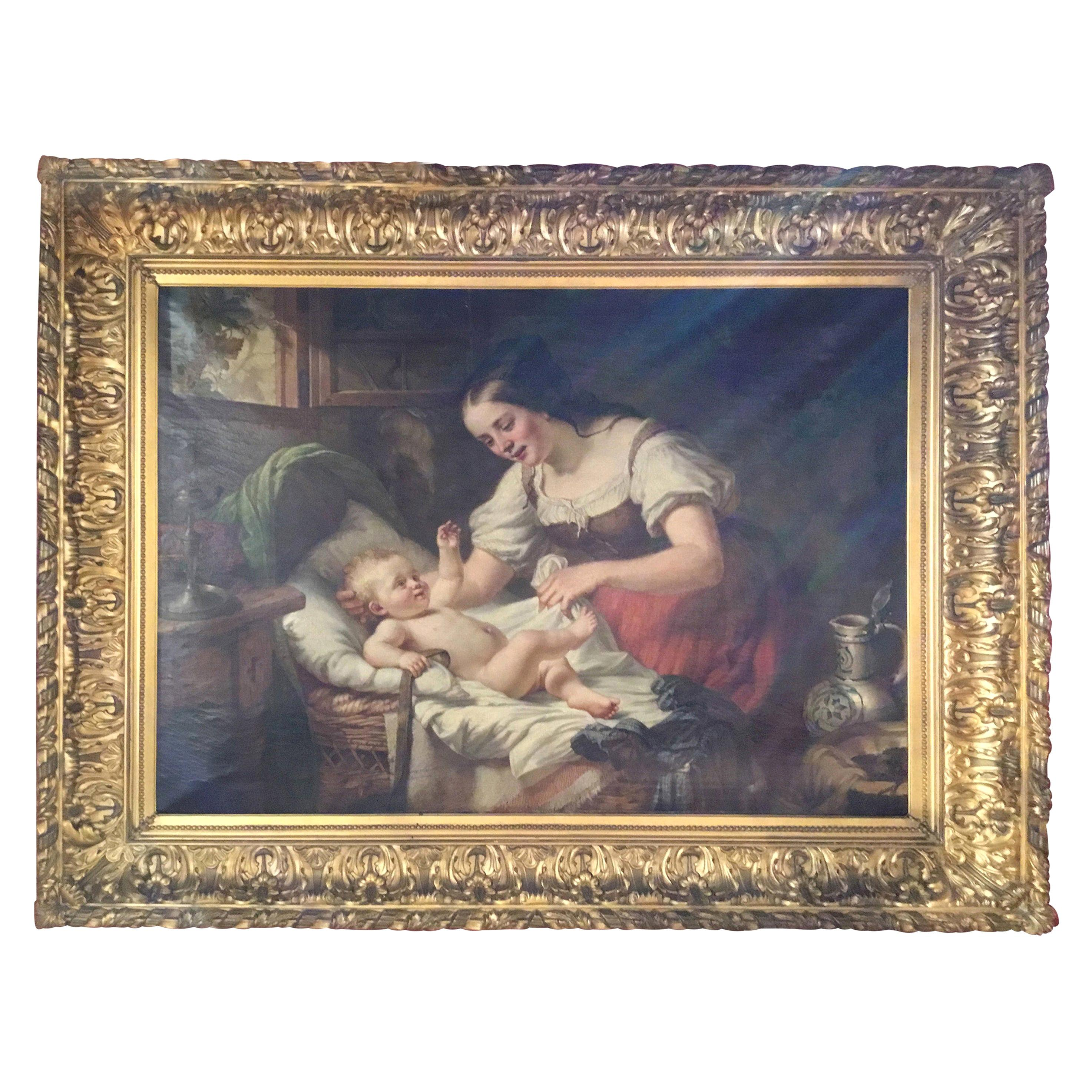 19th Century German Oil Painting Signed H Oehmichen of a Mother and Child