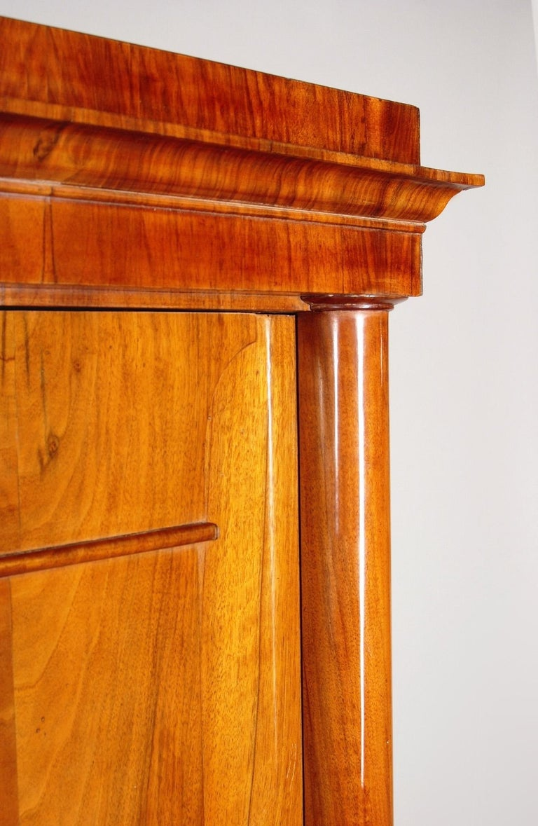 19th Century German One-Door Biedermeier Walnut Wardrobe Cabinet Restored, 1840s For Sale 8