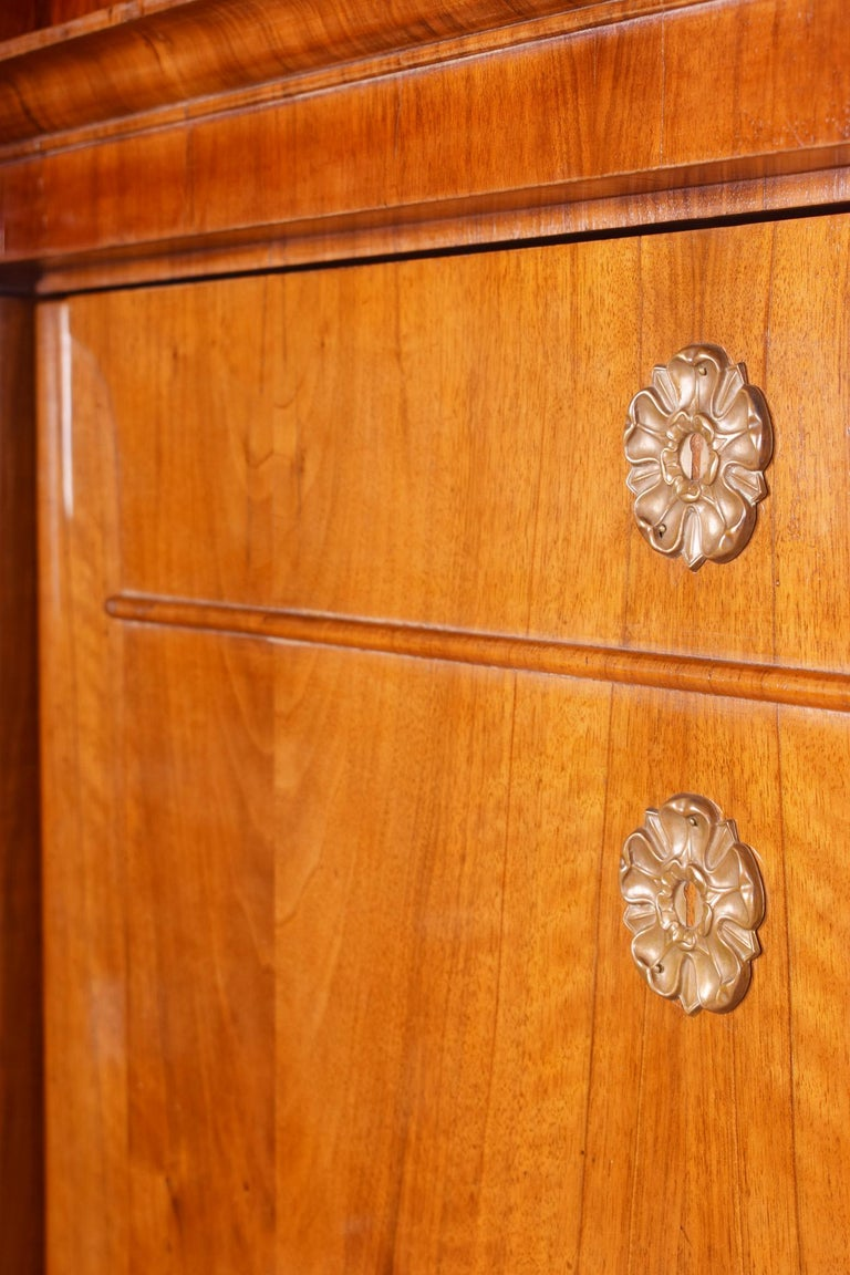 19th Century German One-Door Biedermeier Walnut Wardrobe Cabinet Restored, 1840s In Good Condition For Sale In Prague 1, CZ