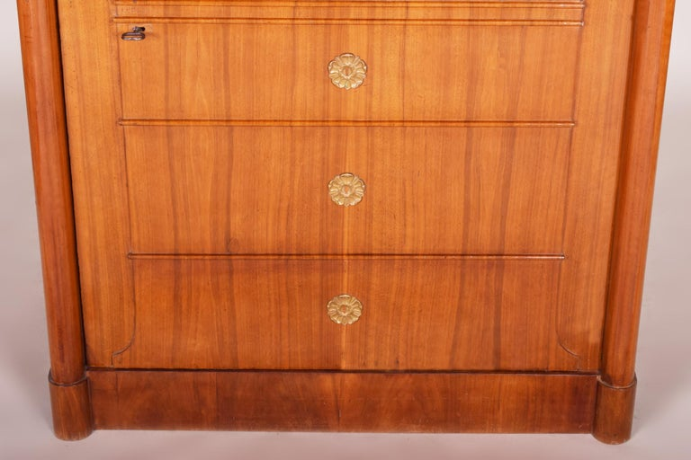 19th Century German One-Door Biedermeier Walnut Wardrobe Cabinet Restored, 1840s For Sale 3