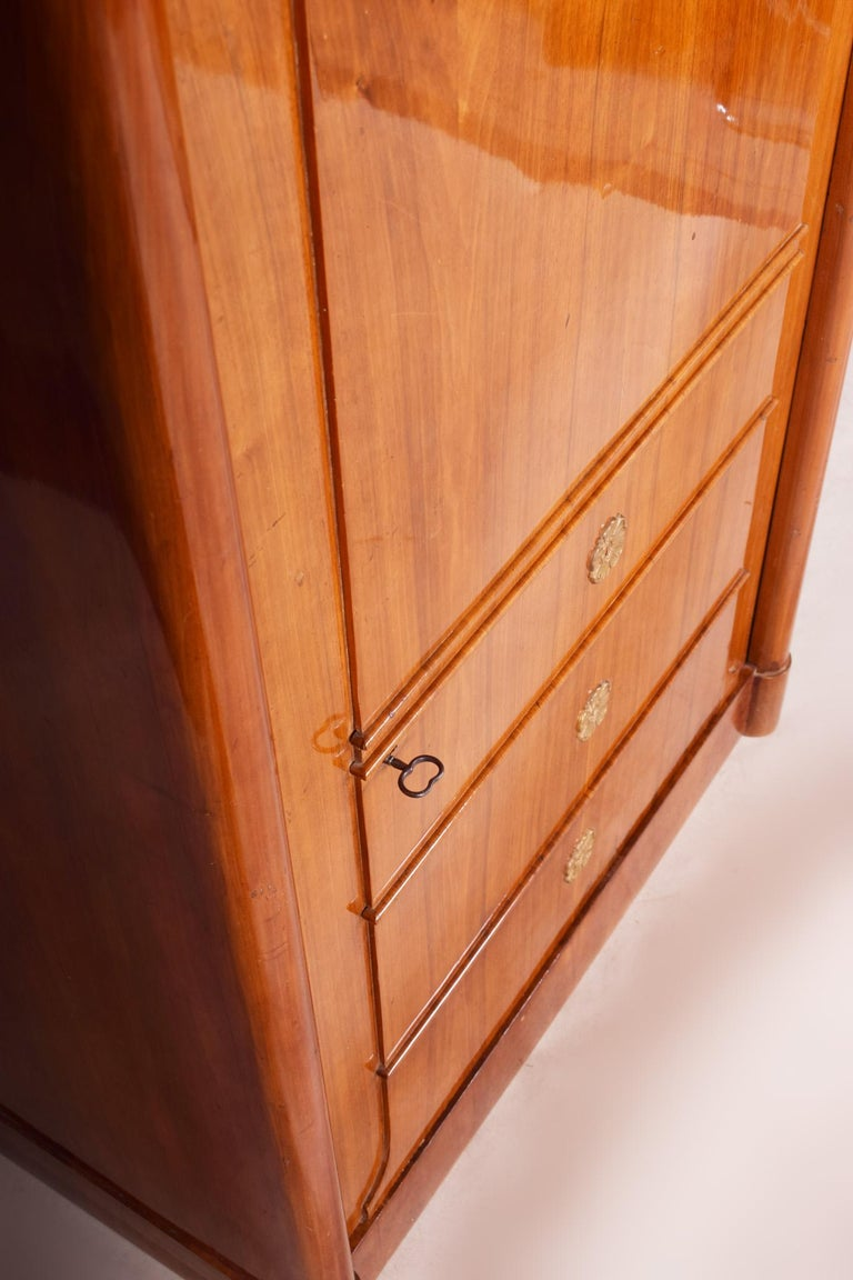 19th Century German One-Door Biedermeier Walnut Wardrobe Cabinet Restored, 1840s For Sale 4