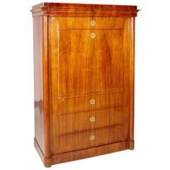 19th Century German One-Door Biedermeier Walnut Wardrobe Cabinet Restored, 1840s