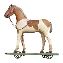 19th Century German Pony Skin Pull Along Horse Toy