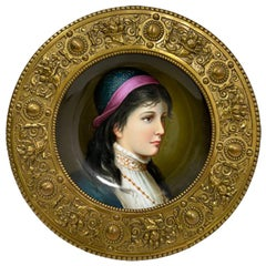 19th Century German Porcelain Plate in Bronze of a Young Female