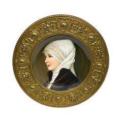 19th Century German Porcelain Plate in Bronze of a Young Woman