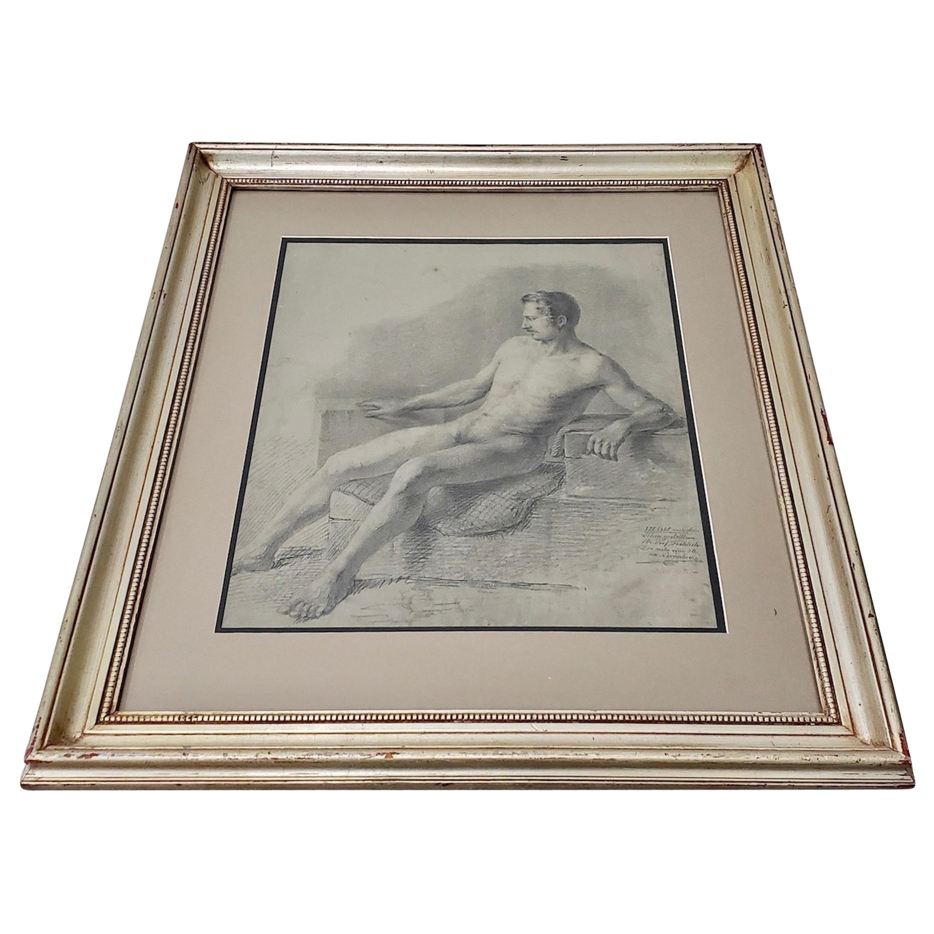 "19th Century German School ""Male Nude Study"" Charcoal and Pencil, circa 1830s"