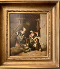 German oil painting, Figures in an interior/barn playing, 19th century, Antique