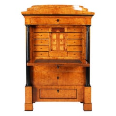 19th Century German Secretaire, Birch, Birch Burl, Biedermeier, circa 1820-1830