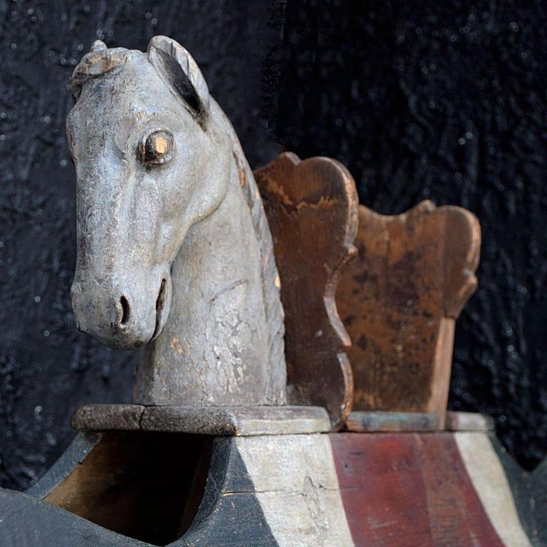 19th Century German Self Taught Folk Art Rocking Horse In Fair Condition For Sale In London, GB