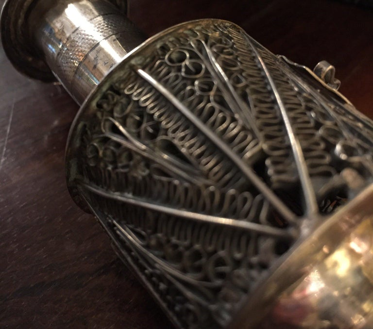 19th Century German Silver Filigree Spice Tower Judaica Havdalah Besamin For Sale 12