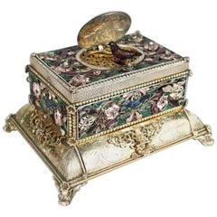 19th Century German Silver, Jewels and Enamel Table Singing Bird Musical Box