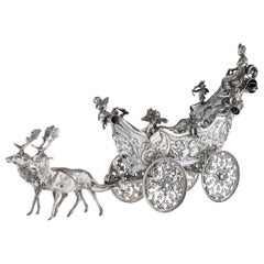 19th Century German Solid Silver Carriage and Reindeer Centrepiece, circa 1890