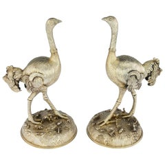 19th Century German Solid Silver Gilt Pair of Ostrich Figures, circa 1860