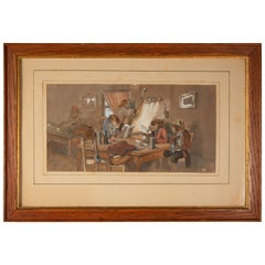 19th Century German Watercolor/Gouache of Monkeys in a Tavern, circa 1845