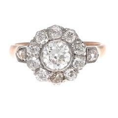 19th Century GIA 0.69 Carat Old European Cut Diamond Gold Engagement Ring