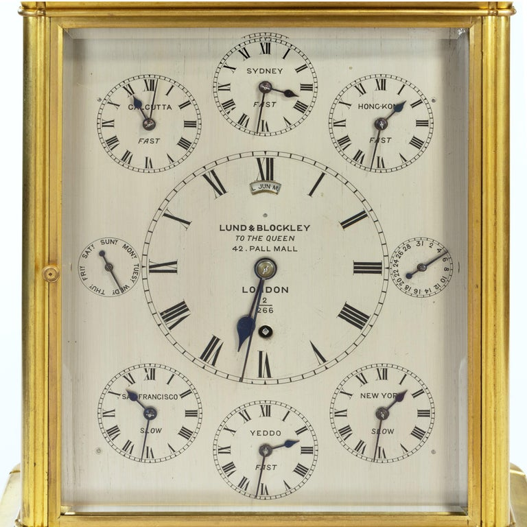 19th Century Giant English Four Glass Table Regulator Clock by Lund & Blockley In Good Condition For Sale In Lymington, Hampshire
