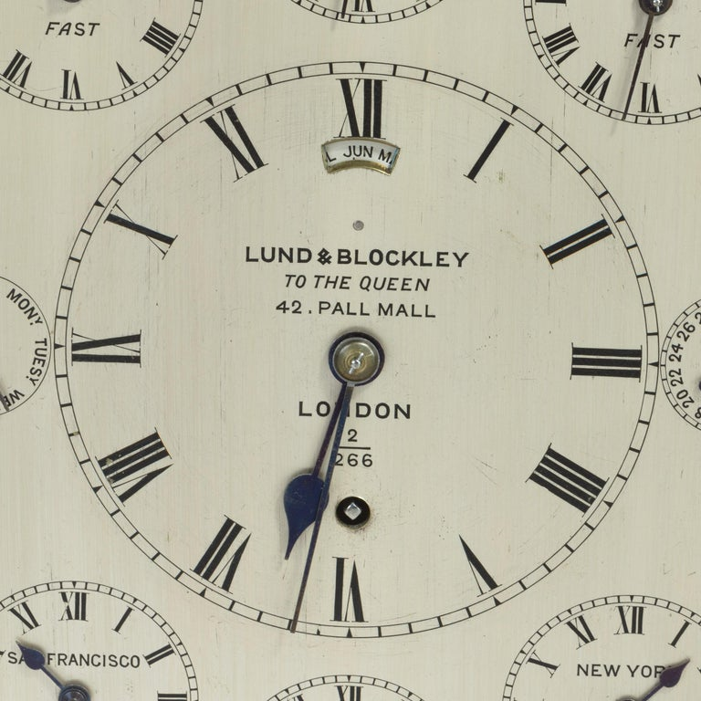 Late 19th Century 19th Century Giant English Four Glass Table Regulator Clock by Lund & Blockley For Sale