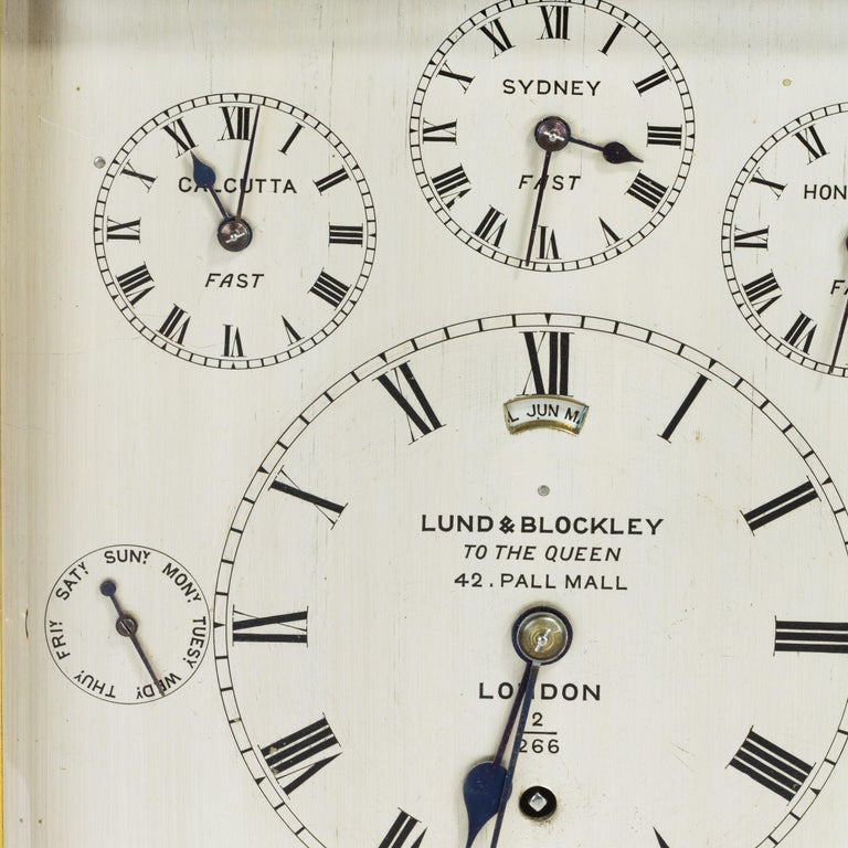Metal 19th Century Giant English Four Glass Table Regulator Clock by Lund & Blockley For Sale