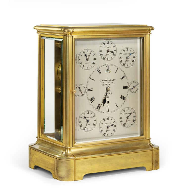 19th Century Giant English Four Glass Table Regulator Clock by Lund & Blockley For Sale 1
