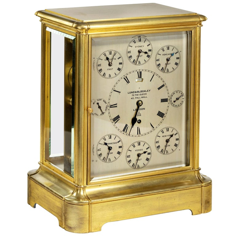 19th Century Giant English Four Glass Table Regulator Clock by Lund & Blockley For Sale