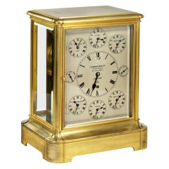19th Century Giant English Four Glass Table Regulator Clock by Lund & Blockley