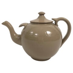 19th Century Giant English Staffordshire Pottery Drabware Teapot