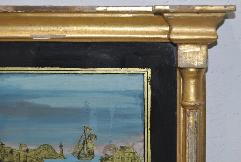 Empire 19th Century Gilded and Painted Trumeau Mirror For Sale