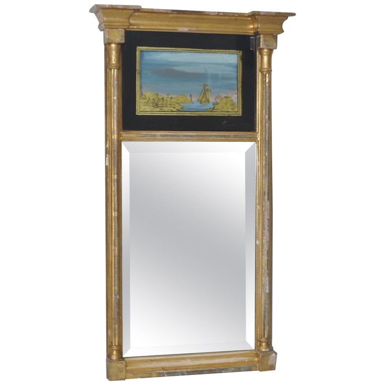 19th Century Gilded and Painted Trumeau Mirror For Sale