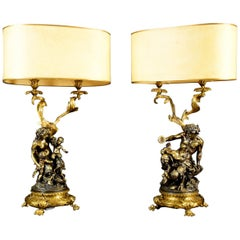 19th Century Pair of French Bronze Candlesticks Lamps Signed Clodion