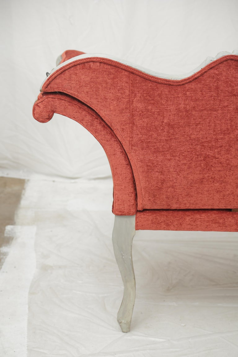 19th Century Gilded and Painted Grey Venetian Sofa with Red Velvet Upholstery For Sale 9