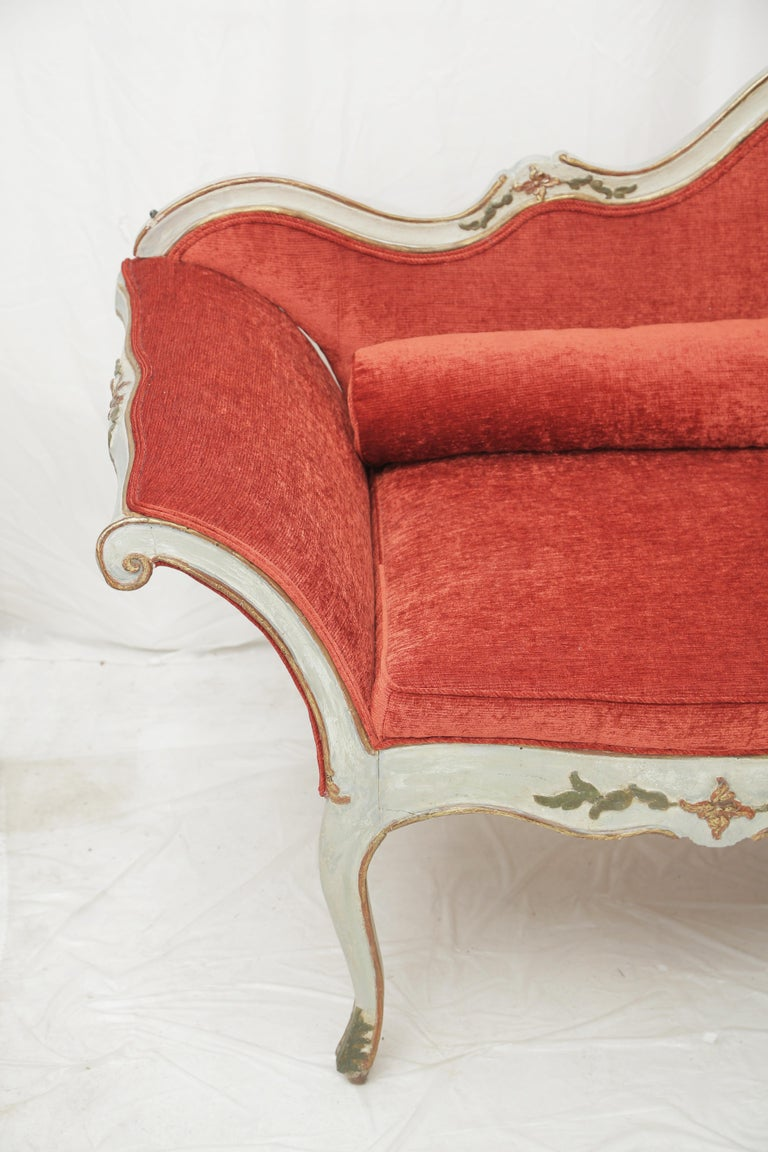 Baroque 19th Century Gilded and Painted Grey Venetian Sofa with Red Velvet Upholstery For Sale