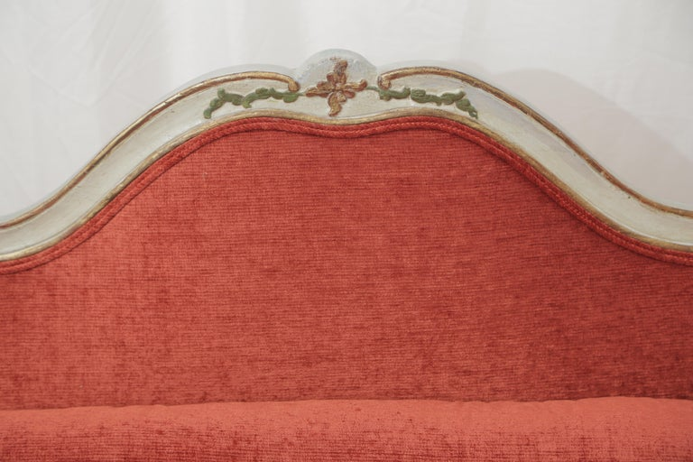 Italian 19th Century Gilded and Painted Grey Venetian Sofa with Red Velvet Upholstery For Sale