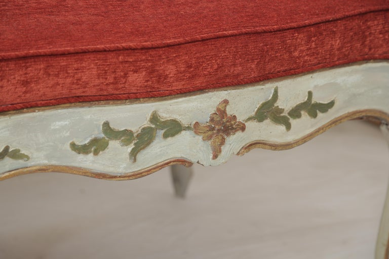 19th Century Gilded and Painted Grey Venetian Sofa with Red Velvet Upholstery For Sale 2