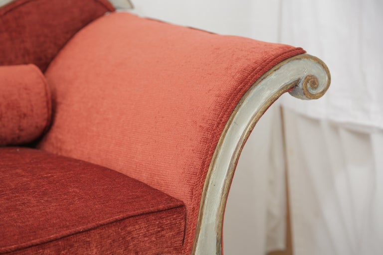 19th Century Gilded and Painted Grey Venetian Sofa with Red Velvet Upholstery For Sale 4
