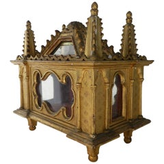 19th Century Gilded Tabernacle with Small Crown and Tiara French Chateau Chapel